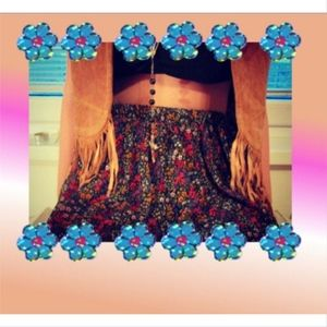 Skirts - Grunge Floral Tiered Skirt